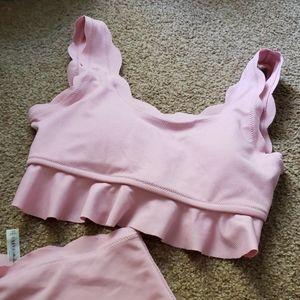 Zaful Blush Pink Scalloped High Waisted 2 piece